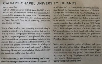 CCU Featured In Calvary Chapel Magazine Article – Spring 2019